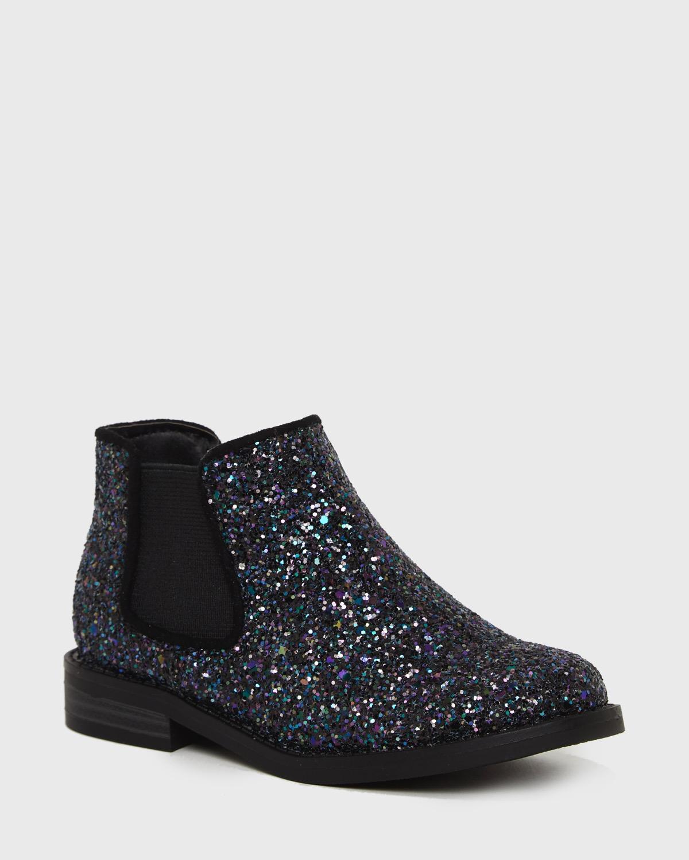 Black Younger Girls Glitter Boots