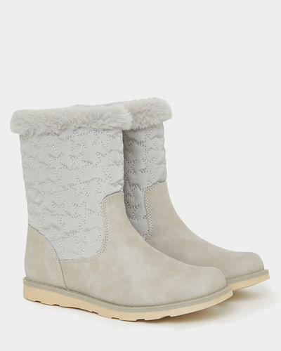 Younger Girls Quilted Faux Fur Boots