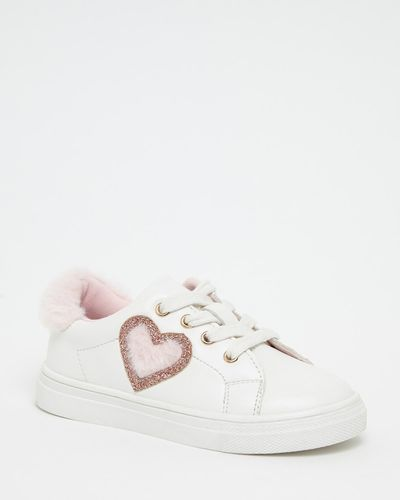 Younger Girls Faux Fur Heart Shoes
