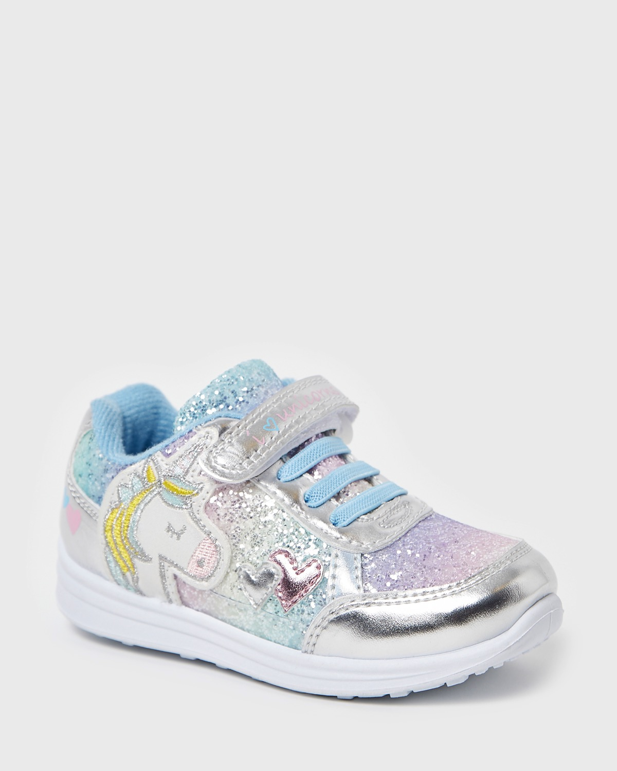 Silver Younger Girls Unicorn Glitter Shoes
