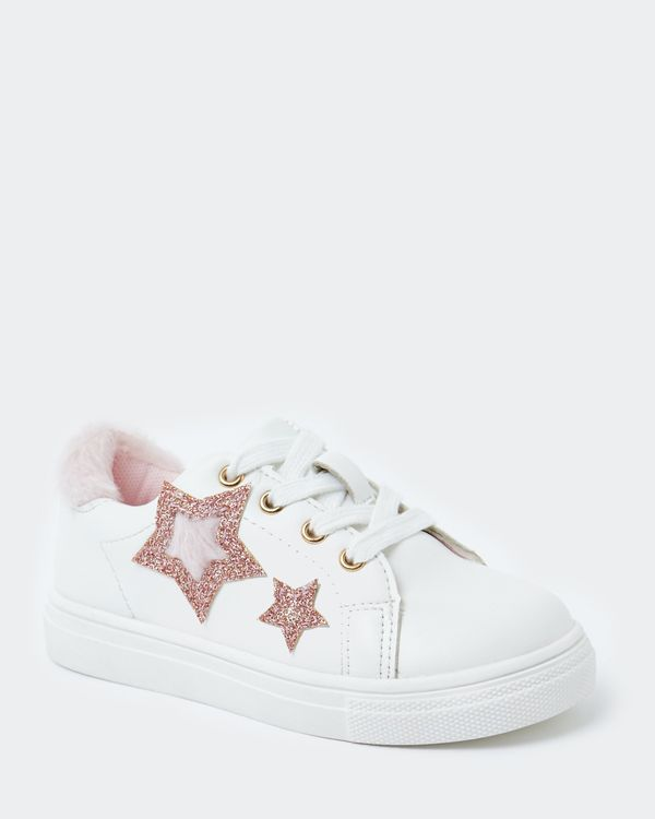 Younger Girls Faux Fur Star Shoes