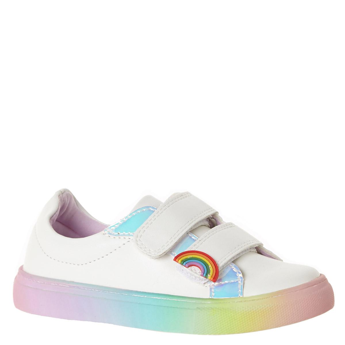 White Baby Girls Rainbow Shoes