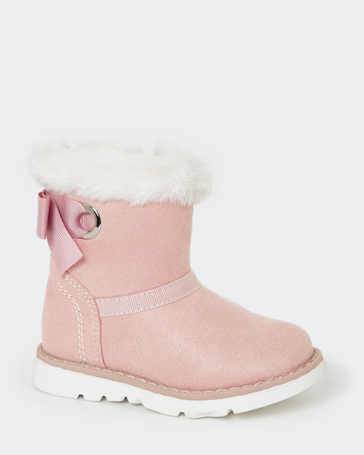 Pink Baby Girls Faux Fur Boots