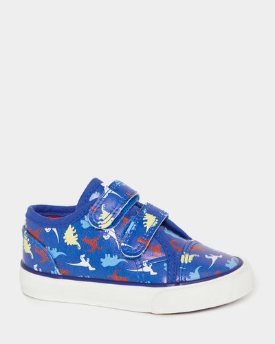Baby Boys PU Strap Canvas All-Over Print Dino Shoes
