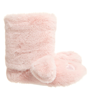 baby-pink Girls Novelty Boot Slippers
