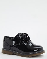black Back To School Patent Lace Ups