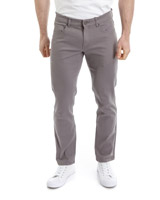 grey Five Pocket Slim Twill Trousers