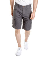 charcoal Straight Fit Cargo Shorts