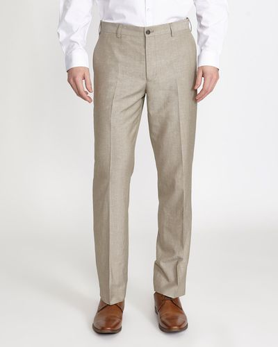 Linen Blend Stone Suit Trouser