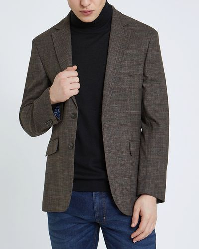 Regular Fit Brown Stretch Blazer