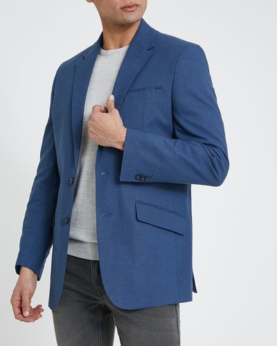 Regular Fit Navy Linen Blend Jacket