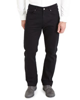 black Five Pocket Regular Fit Twill Trousers