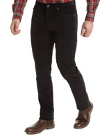 black Straight Fit Stretch Washed Corduroys