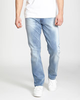 light-wash Straight Fit Stretch Denim Jeans