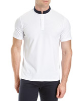 white Slim Fit Mandarin Collar Polo