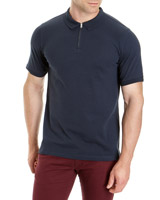 dark-navy Slim Fit Zip Front Polo