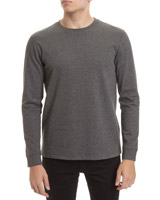 char-marl Slim Fit Long Sleeve Textured T-Shirt