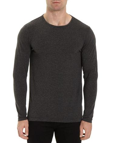 grey-marlSlim Fit Long-Sleeved Striped Top