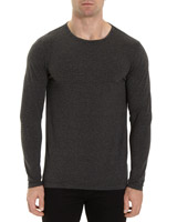grey-marl Slim Fit Long-Sleeved Striped Top