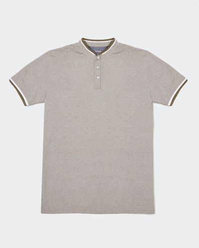 Slim Fit Stand Collar Pique Polo