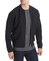 navy Slim Fit Zip Through Bomber