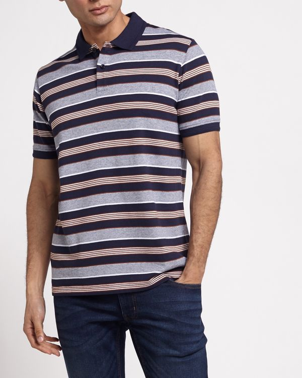 Regular Fit Yarn Dye Pique Stripe Polo
