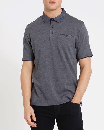 Regular Fit Woven Collar Micro Stripe Polo