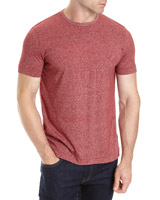 red Regular Fit Textured Flock Print T-Shirt