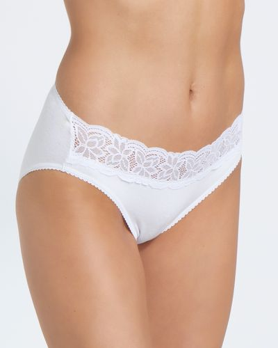 Lace Cotton Rich Hi Leg Briefs - Pack of 5