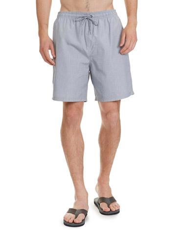 navyRegular Fit Yarn Dyed Check Swim Shorts