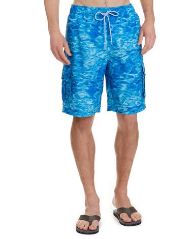 blueRegular Fit Water Print Swim Shorts