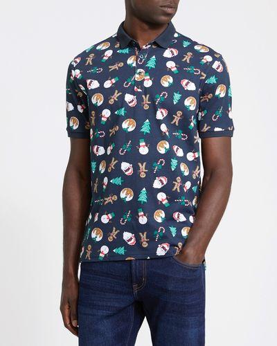 Regular Fit Christmas Print Polo Shirt
