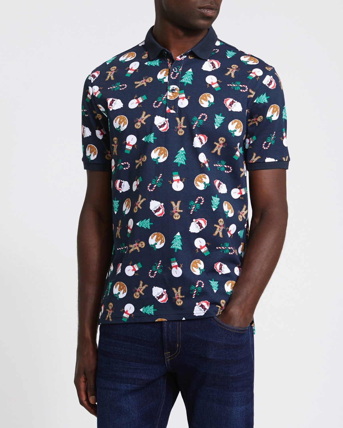 Dunnes Stores | Navy Regular Fit Christmas Print Polo Shirt