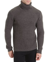 charcoal Roll-Neck Knit Jumper