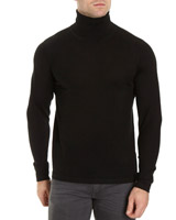 black Mercerised Roll-Neck Jumper