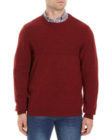 red Lambswool Upper Texture Jumper