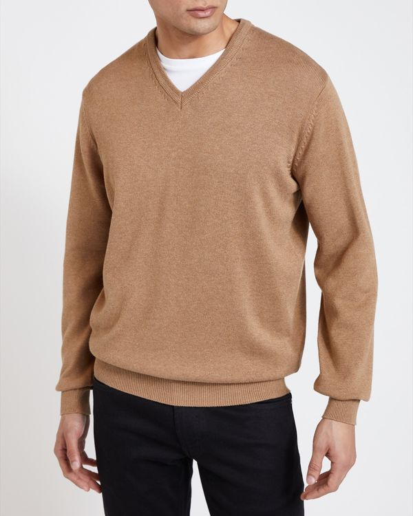 Regular Fit Cotton V-Neck Jumper