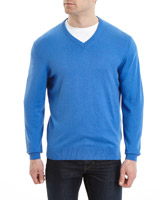 blue-marl Regular Fit V-Neck Jumper