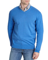 blue Regular Fit V-Neck Jumper