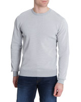 grey Textured Crew-Neck Jumper