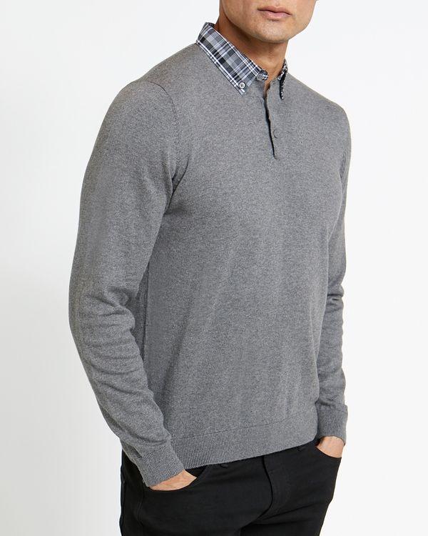 Woven Collar Knit Shirt