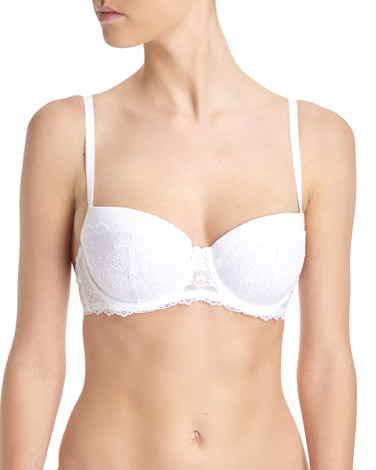 white Corded Lace Balcony Bra