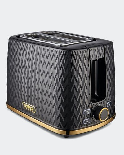 Tower Empire 2 Slice Toaster Black with Brass Accents