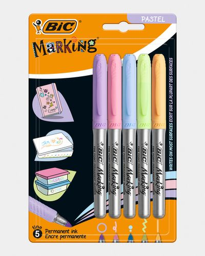 Bic Marking Grip Permanent Pastel Pens - Pack Of 5