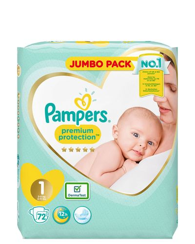 Pampers Premium Protection Jumbo Size 1: 72 Nappies