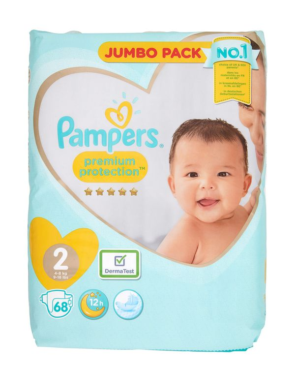 Pampers Premium Protection Jumbo Size 2: 68 Nappies
