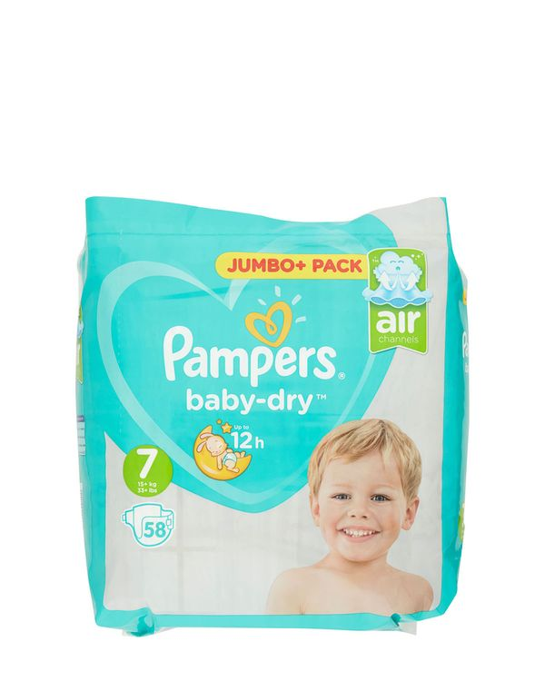 Pampers Baby Dry Size 7 Jumbo Plus Pack 58 Nappies
