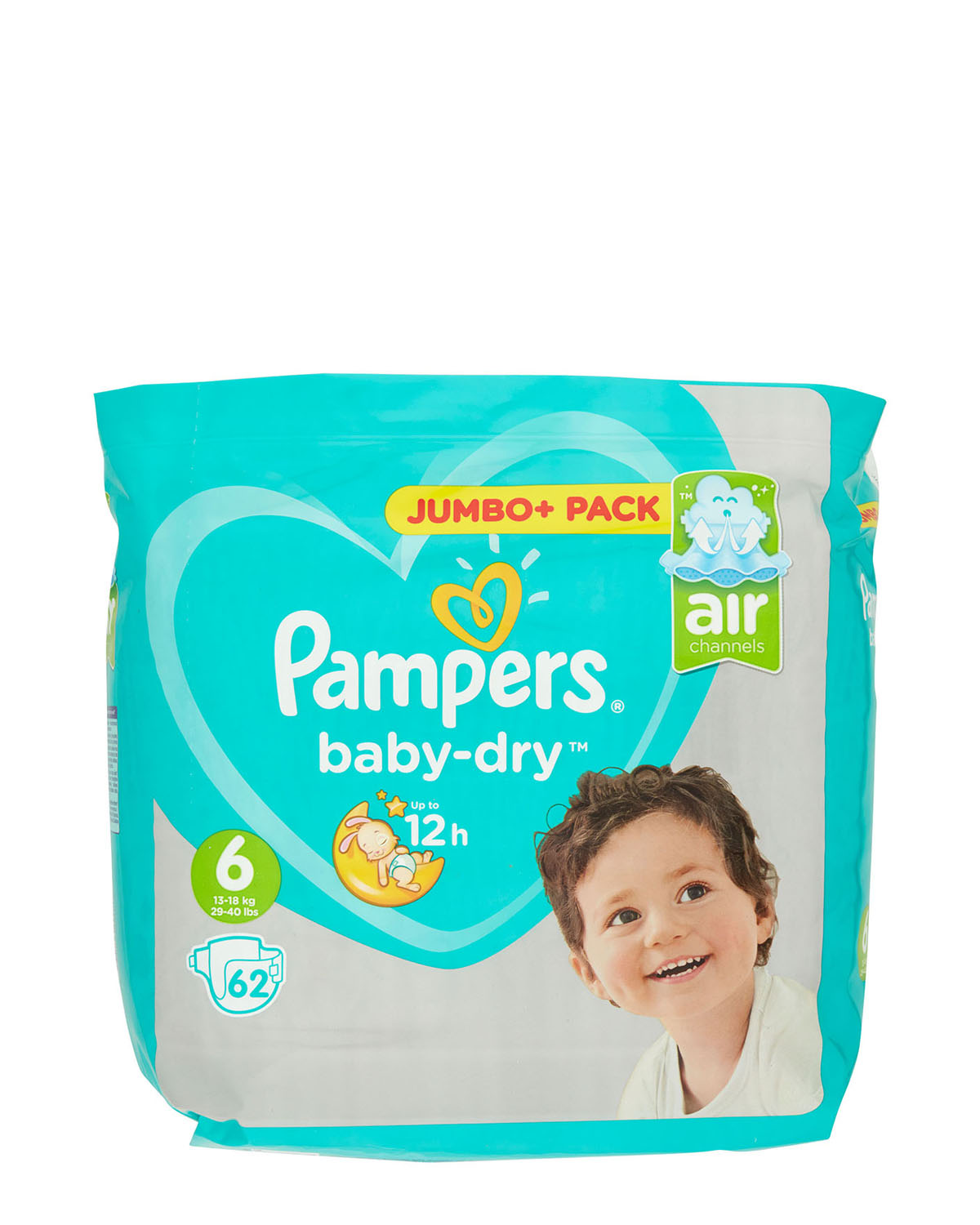 Pampers Baby Dry Size 6 Jumbo Plus - 62 Nappies thumbnail