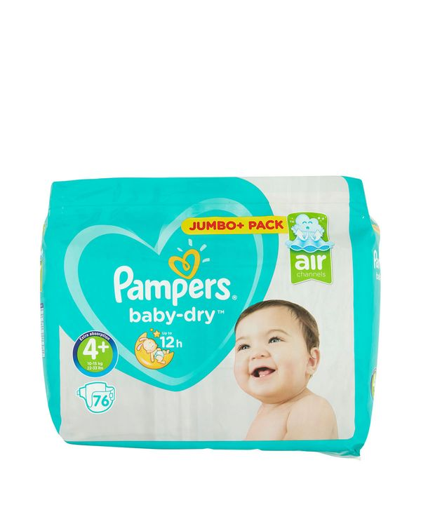 Pampers Baby Dry Size: 4 Plus Jumbo Pack - 76 Nappies