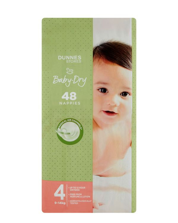 Dunnes Stores Baby-Dry Nappies S4 - Pack Of 48